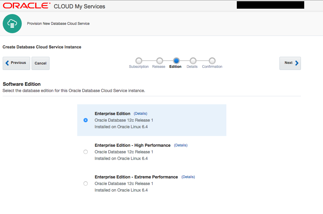 Creating an Oracle Database Cloud Service